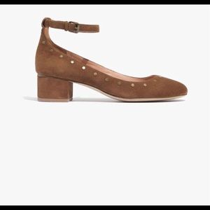 Madewell The Inez suede studded block heel shoes